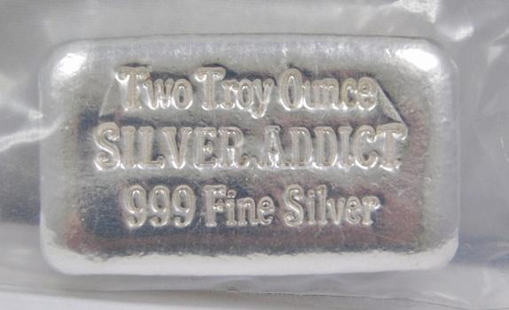2 oz .999+ Fine Silver Hand Poured Silver Addict Bar - Limited Edition #0230
