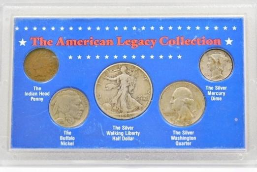 The American Legacy Coin Collection w/Silver Walking Liberty Half Dollar, Silver Washington Quarter, Silver Mercury Dime, Indian Head Cent and Buffalo Nickel