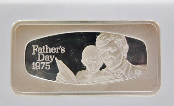 1000 Grain Proof Sterling Silver Bar encased in Acrylic Paper Weight - Father's Day 1975 from the Franklin Mint