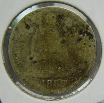 1889 Silver Seated Liberty Dime - Well Outlined