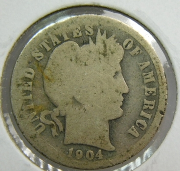 1904 Silver Barber Dime - Well Outlined with Clear Date