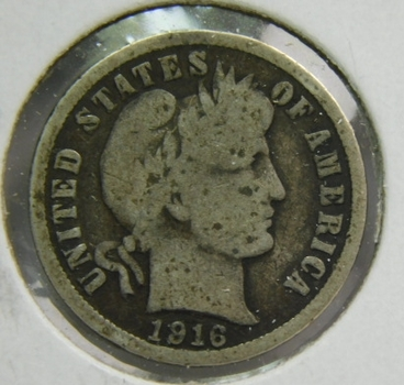 1916 Silver Barber Dime - Well Outlined with Clear Date