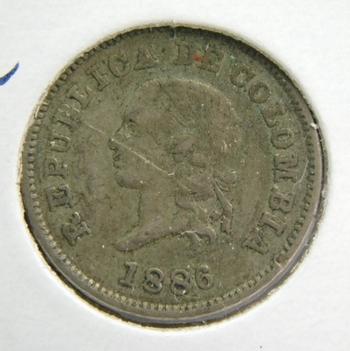 1886 Colombia 5 Centavos