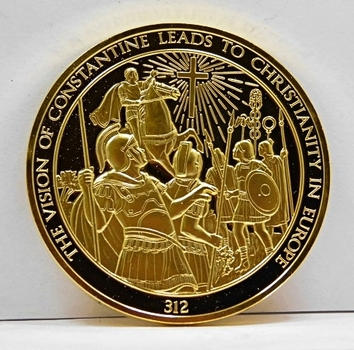 24K Gold Layered Over 2 oz. of .925 Sterling Silver - Franklin Mint History of Mankind Set - The Vision Of Constantine Leads To Christianity In Europe - 312 - Low Mintage of Only 3,213 - In Original Protective Capsule