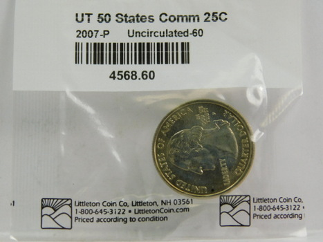 2007-P Utah Commemorative State Quarter - Graded Uncirculated 60 and Packaged by The Littleton Coin Company