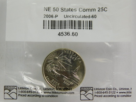 2006-P Nebraska Commemorative State Quarter - Graded Uncirculated 60 and Packaged by The Littleton Coin Company