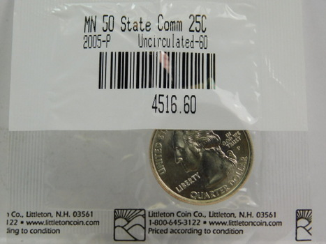 2005-P Minnesota Commemorative State Quarter - Graded Uncirculated 60 and Packaged by The Littleton Coin Company