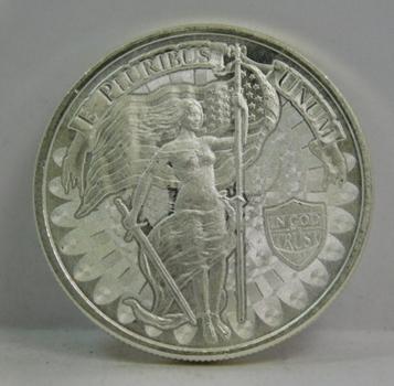 1 oz .999 Fine Silver E Pluribus Unum - Liberty w/Sword and Snake - In God We Trust Commemorative Round