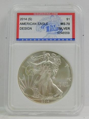 2014-S .999 SILVER American Eagle IGS Graded MS70 BRILLIANT UNCIRCULATED