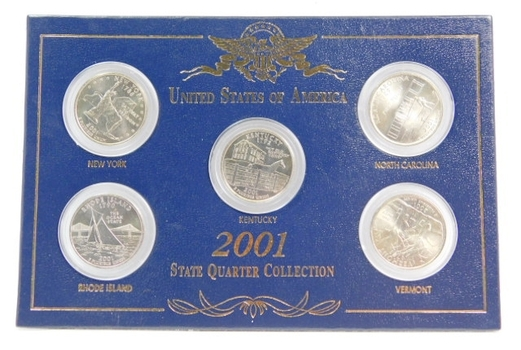 2001 State Quarter Collection Brilliant Uncirculated Custom Presentation Holder Airtights