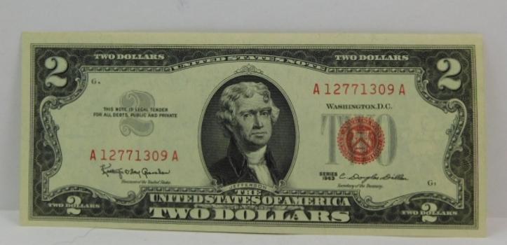 1963 $2 Red Seal U.S. Legal Tender Note - High Grade Crisp Uncirculated