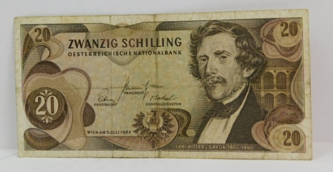 1967 Austria 20 Shilling Bank Note
