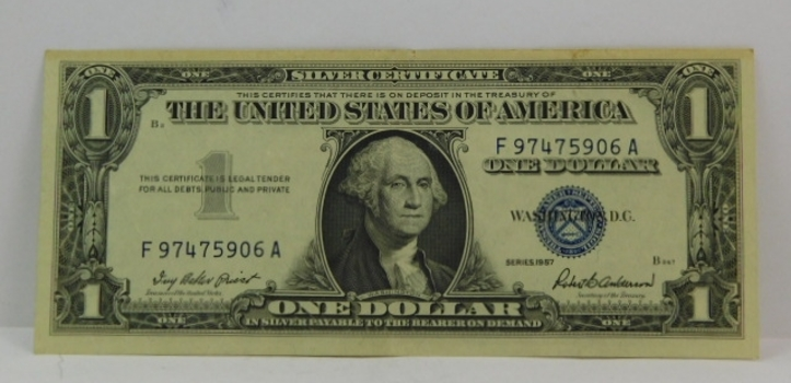 1957 $1 Silver Certificate - Payable in Silver to the Bearer - High Grade Crisp Paper