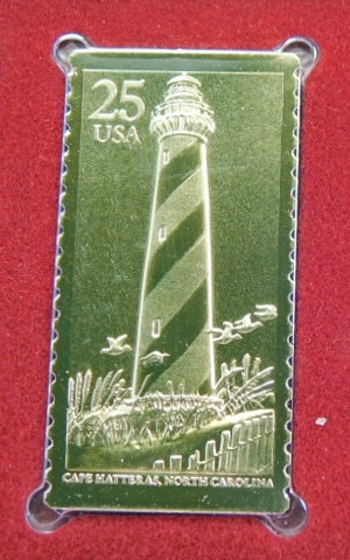 Lot of (2) 22K Gold Proof Replica Stamp - Lighthouses - Cape Hatteras, North Carolina - Sandy Hook, New Jersey Gold Replica of United States Stamps - FDC