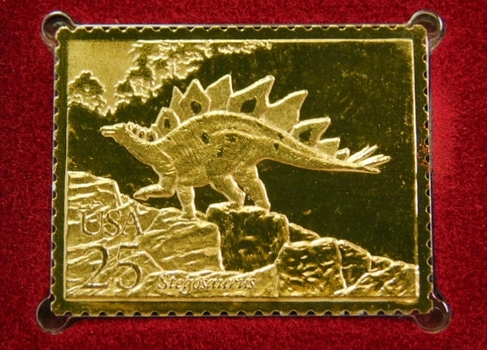 Lot of Two (2) 22K Gold Proof Replica Stamp - Prehistoric Animals - Stegosaurus & Brontosaurus - Gold Replica of United States Stamps - FDC