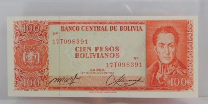 "1962 Central Bank of Bolivia ""100 Pesos"" Uncirculated Note"