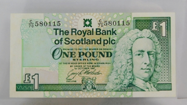 """1997 Royal Bank of Scotland """"1 Pound Sterling"""" Uncirculated Note"""