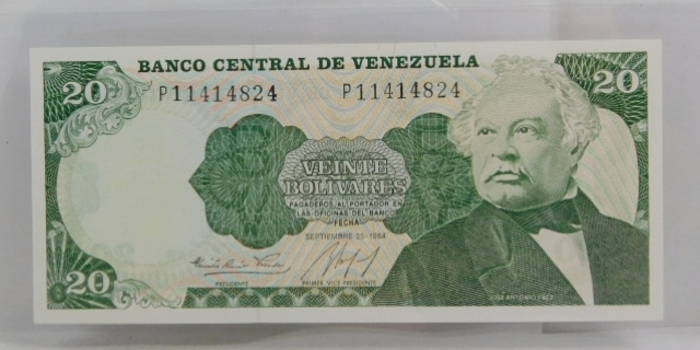 "1984 Banco Central De Venezuela ""20 Bolívares"" Uncirculated Note"