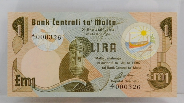 """1967 Bank of Malta """"1 Pound"""" Uncirculated Note"""