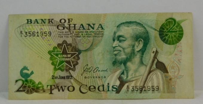 "1972 Ghanaian ""2 Cedis"" Uncirculated Note"