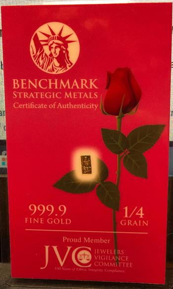 1/4 Grain 999.9 Fine Gold Bar Encased in a Business Sized Plastic Card with a Red Rose and COA - Benchmark Strategic Metals