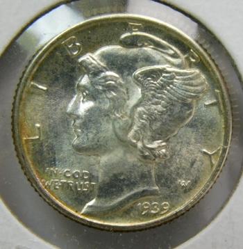 1939 Silver Mercury Head Dime - High Grade - Struck at the Philadelphia Mint