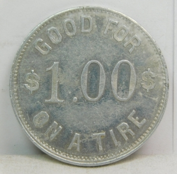 Vintage Trade Token - Hank's Tire Shop - Diamond Tires - Guaranteed Vulcanizing - Miles City, Mont. - Good for $1.00 Off A Tire