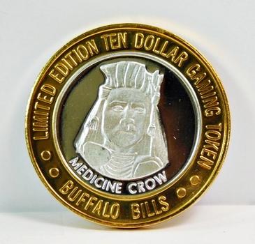 Silver Strike - .999 Fine Silver - Buffalo Bills - Featuring Medicine Crow - Limited Edition $10 Gaming Token - Las Vegas, Nevada