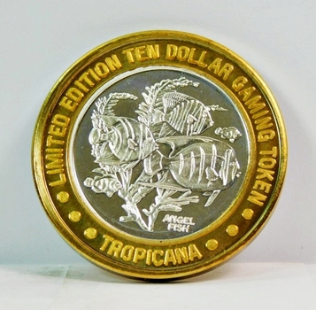 Silver Strike - .999 Fine Silver - Tropicana - Angel Fish - Limited Edition $10 Gaming Token - Las Vegas, Nevada