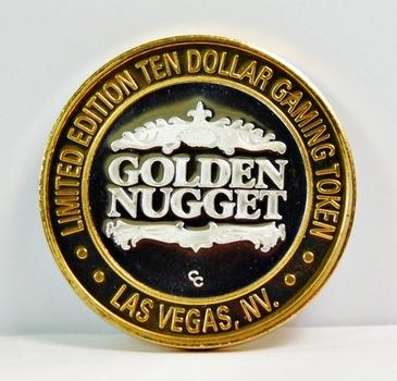 Silver Strike - .999 Fine Silver - Golden Nugget - Limited Edition $10 Gaming Token - Las Vegas, Nevada