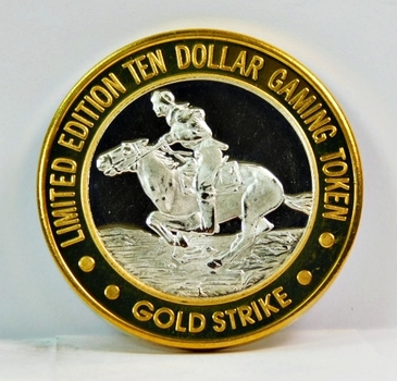 Silver Strike - .999 Fine Silver - Gold Strike Hotel and Gaming Hall - Limited Edition $10 Gaming Token - Jean, Nevada