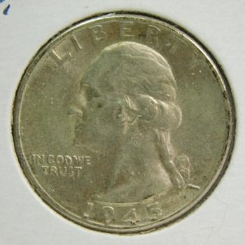 1945-D Silver Washington Quarter - High Grade Coin - Excellent Detail - Struck in Denver