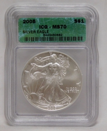 2005 American Silver Eagle - Graded MS70 by ICG - Nice White Coin - Struck at Philadelphia