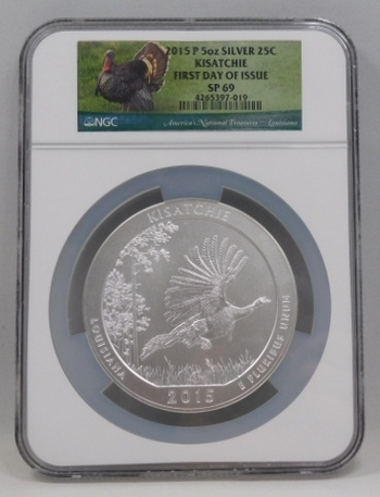 2015-P 5 oz. .999 Fine Burnished Silver Kisatchie, Louisiana - America the Beautiful - First Day of Issue - America's National Treasures Series - Graded SP69 by NGC