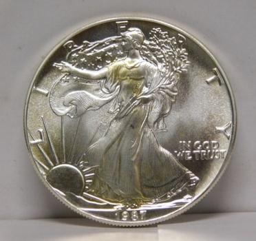 1987 $1 American Silver Eagle 1 oz .999 Fine Silver Dollar - Brilliant Uncirculated w/Gold Tone
