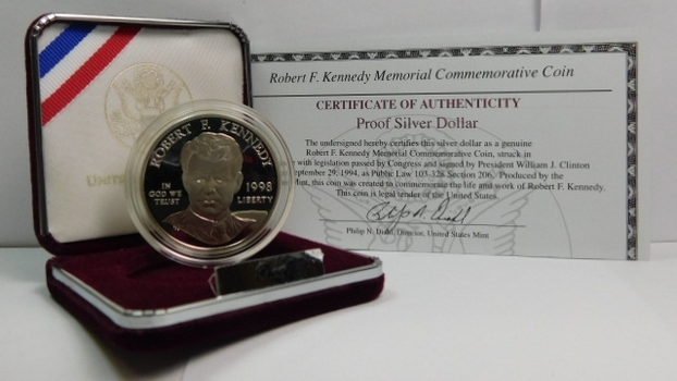 1998-S Robert F. Kennedy Memorial Commemorative Proof Silver Dollar - With COA and Original Gift Boxing from the San Francisco Mint
