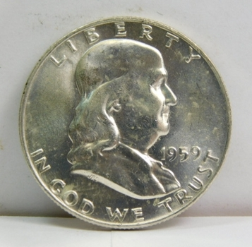 HIGH GRADE!! - 1959-D Brilliant Uncirculated Silver Franklin Half Dollar - Excellent Detail and Luster - Denver Minted