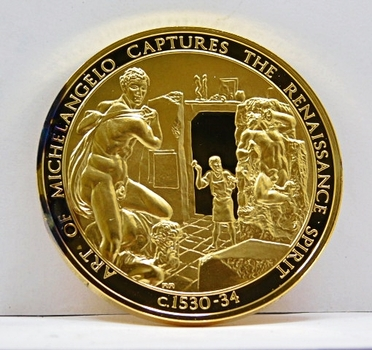 24K Gold Layered Over 2 oz. of .925 Sterling Silver - Franklin Mint History of Mankind Set - Art of Micheal Angelo Captures The Renaissance - c.1530-34 - Low Mintage of Only 3,213 - In Original Protective Capsule