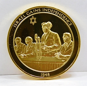 24K Gold Layered Over 2 oz. of .925 Sterling Silver - Franklin Mint History of Mankind Set - Israel Gains Independence - 1948 - Low Mintage of Only 3,213 - In Original Protective Capsule