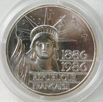 1986 France 100 Francs Statue of Liberty Silver Piedfort in Original Capsule