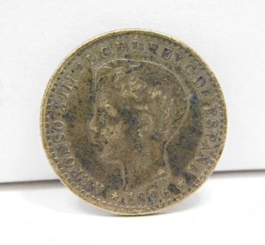 RARE 1896 Pre-Territorial Puerto Rico Silver 10 Centavos