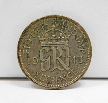 1943 Great Britain Silver 6 Pence