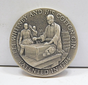 "1.1oz. Silver Medallion Commemorating the Patenting of the Cotton Gin in 1794 Eli Whitneyl - 1.5"" in Diameter"