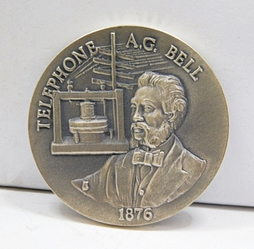 "1.1oz. Silver Medallion Commemorating the 1876 Telephone and A.G. Bell - 1.5"" in Diameter"