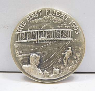 "1.1oz. Silver Medallion Commemorating the First Flight in 1903 - 1.5"" in Diameter"