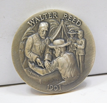 "1.1oz. Silver Medallion Commemorating the 1901 Cure of the Yellow Fever by Walter Reed - 1.5"" in Diameter"