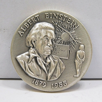 "1.1oz. Silver Medallion Commemorating the 1879 to 1955 Birth and Death of Albert Einstein - 1.5"" in Diameter"