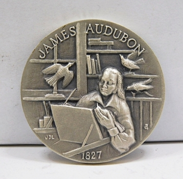 "1.1oz. Silver Medallion Commemorating the 1827 Printing of John James Audubon's""Birds of North America"" - 1.5"" in Diameter"