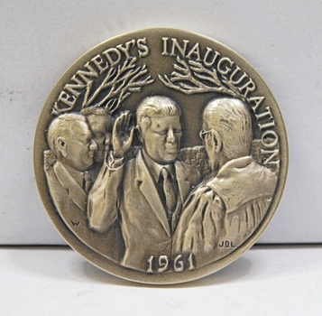 "1.1oz. Silver Medallion Commemorating the Inauguration of John J. Kennedy in 1961 - 1.5"" in Diameter"