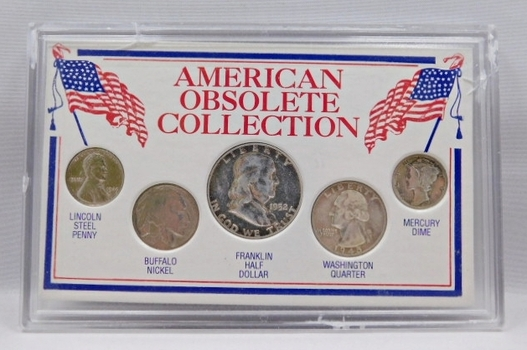 American Obsolete Collection - 1943 Steel Cent, 1937 Buffalo Nickel, 1952 Silver Franklin Half Dollar, 1945 Silver Washington Quarter and SCARCE DATE 1940-S Silver Mercury Head Dime